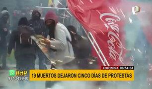 Protestas en Colombia: primeras cifras oficiales reportan 19 fallecidos