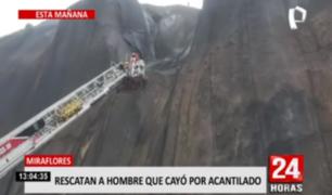 Miraflores: rescatan a hombre que cayó en acantilado de la Costa Verde