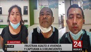 El Agustino: intervienen a tres sujetos cuando intentaban ingresar a vivienda para robar