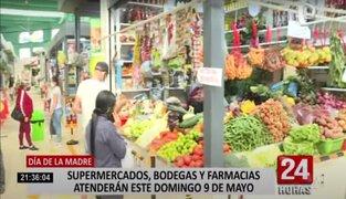 Día de la Madre: Supermercados, mercados y bodegas podrán operar este domingo