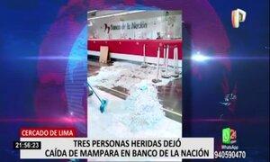 Banco de la Nación: reportan 3 heridos tras caída de estructura de vidrio