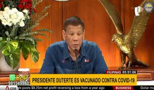 Filipinas: presidente se vacunó contra el COVID-19 para animar a la población a inmunizarse
