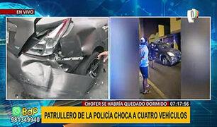 Surco: patrullero de la policía chocó a cuatro vehículos durante la madrugada