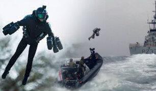 Reino Unido: Armada prueba  un traje volador para misiones en el mar