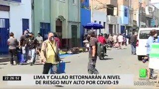 Lima Metropolitana y Callao pasaron del nivel de riesgo extremo a muy alto