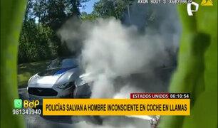 EEUU: Imágenes muestran increíble rescate a hombre inconsciente de auto en llamas