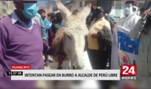 Huancayo: intentar pasear en burro a alcalde de Perú Libre
