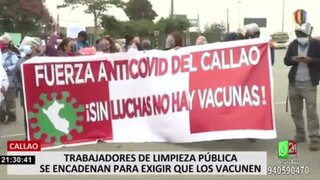 Trabajadores de limpieza del Callao protestaron para exigir pronta vacunación contra COVID-19