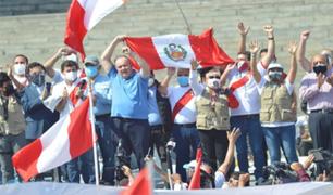 Marchan contra candidatura de Pedro Castillo en el Centro de Lima