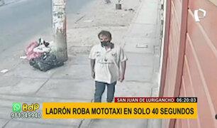 SJL: cámara capta robo de mototaxi en solo 40 segundos