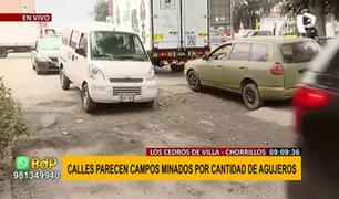 Chorrillos: enormes huecos en las pistas causan malestar a conductores y transeúntes