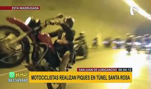 SJL: captan a motociclistas realizando piques ilegales en túnel San Martín