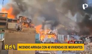 Chile: incendio consume alrededor de 40 viviendas de migrantes