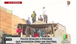 Desalojan a familias que se habían asentado en el parte alta del cerro San Cristóbal