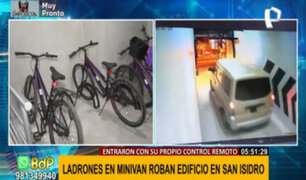 San Isidro: roban bicicletas tras ingresar a cochera de edificio con su propio control remoto