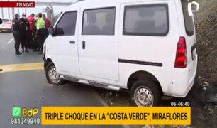 Cuádruple choque en la Costa Verde: dos heridos tras aparatoso accidente