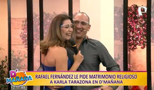 Karla Tarazona se sorprende con propuesta de matrimonio religioso de su pareja en D'Mañana