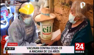 Trujillo: vacunan contra el coronavirus a anciana de 116 años