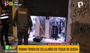 SJM: roban 80 mil soles en artículos de tienda de celulares en pleno toque de queda