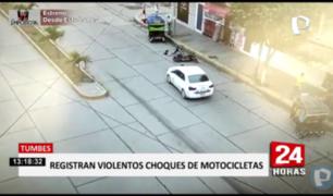 Tumbes: cámaras captan accidentes de motos lineales