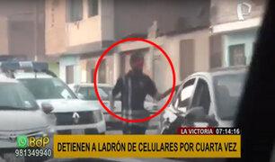 """La Victoria: por cuarta vez detienen a ladrón de celulares conocido como """"el perezoso"""""""