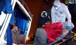 Chofer sale disparado de cabina de camión tras chocar en la Panamericana Sur