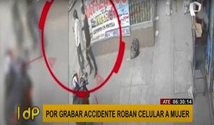 Ate: joven graba un accidente con su celular y ladrón aprovecha para robarle