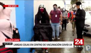 Pueblo Libre: largas filas y reclamos en vacunación de trabajadores privados de salud