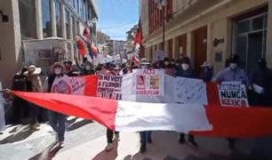 Puno: realizan marcha contra candidata presidencial Keiko Fujimori