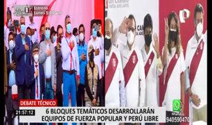 Debate Presidencial: 6 bloques temáticos desarrollarán equipos de Fuerza Popular y Perú Libre