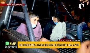 Los Olivos: delincuentes juveniles son detenidos a balazos por agentes encubiertos