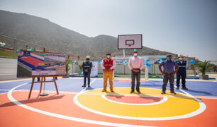 MML realizó en Pachacámac la entrega de nueva losa deportiva y muros de contención