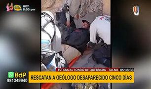 Tacna: Rescatan a geólogo desaparecido en quebrada desde el pasado 14 de mayo