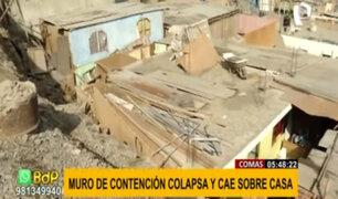 Peligro en Comas: muro de contención colapsa y cae sobre vivienda