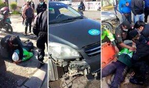 Huancayo: auto colectivo atropella a dos policías que se movilizaban en motocicleta