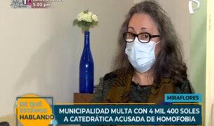 Miraflores: Municipalidad multa con más de S/ 4 mil a catedrática acusada de homofobia