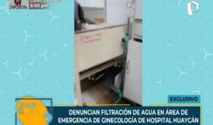 Denuncian filtración de agua en área de emergencia del Hospital de Huaycán