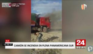 Ica: camión que iba a Arequipa se incendió en Panamericana Sur