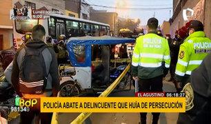 El Agustino: raquetero armado es abatido durante persecución policial