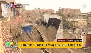 Chorrillos: vecinos denuncian muro de contención inconcluso y mal ejecutado