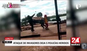 Iquitos: policías e invasores se enfrentan en batalla campal
