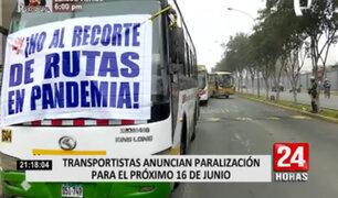 Transportistas anunciaron paralización para el próximo 16 de junio