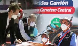 Pasco: Sagasti suscribe contrato de asistencia técnica para construcción de nueva Carretera Central