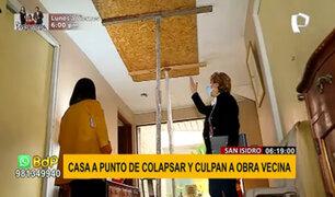 San Isidro: casa a punto de colapsar por construcción de edificio contiguo