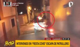 Intervenido en 'Fiesta Covid' salta de patrullero y se da a la fuga