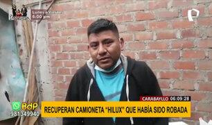 Carabayllo: recuperan camioneta Hilux que estaba a punto de ser desmantelada