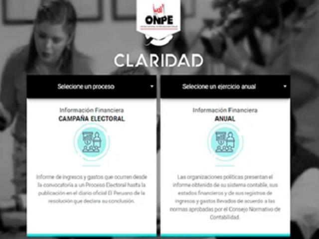 Claridad: la plataforma de la ONPE que permite conocer ingresos y gastos de campaña electoral