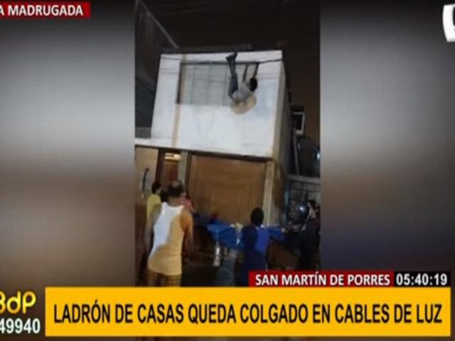 SJM: ladrón de casas se colgó de cables de luz para no ser detenido