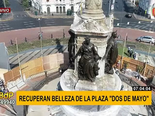 Plaza Dos de Mayo recupera su belleza y será inaugurada tras obras de mantenimiento