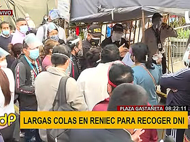 Reniec: se registra largas colas y desorden para recoger DNI en plaza Gastañeta